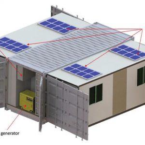 コンテナ-オープン時:ソーラーパネル、外部空調ユニット、ディーゼル自家発電機
