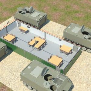 電気設備を施されたコンテナと追加防御を施されたAPG