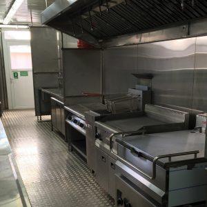 毎日数百人分もの温かい料理を提供できる業務仕様のキッチン設備